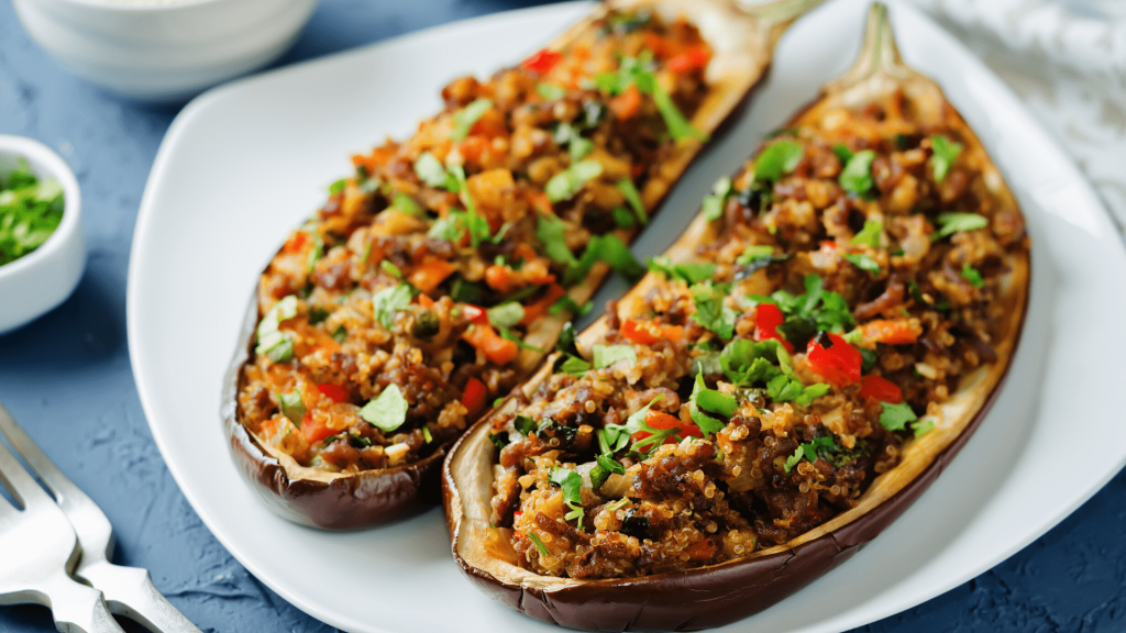 Today's recipe for eggplant stuffed with vegetables and quinoa is excellent especially, on fasting days. It is very tasty, light, and yet satisfying.